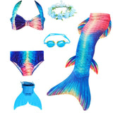 New Girls Bikini Mermaid Tail Costume with Fin Headwear Goggles Mermaid Swimsuit Girl Children Dress Halloween Costume for Kids