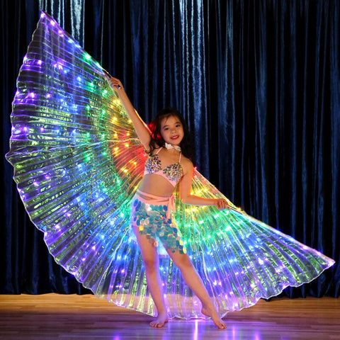 Kids LED Light Up Wings Costume Accessories Performance Prop Children Dancewear  Belly Dance Wing (with sticks, bag) Multicolors