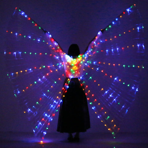 NEW Unisex Belly Dance Props 360 Degrees LED ISIS Wings Girls Dance Accessories LED Wings Dance Props Wings With Sticks and Bag