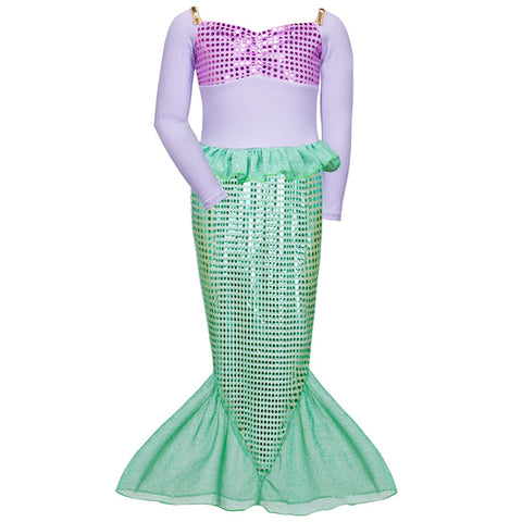 Halloween Costumes for Girls 2-10Y Mermaid Tail Long Sleeve Dress Fancy Princess Dress Cosplay Clothes Paillette Lotus Dress