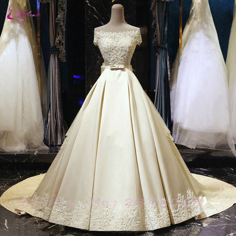 Waulizane Lustrous Satin Boat Neck A-Line Wedding Dress Beading Pearls Appliques Lace Off The Shoulder With Bow Sash Bridal Gown