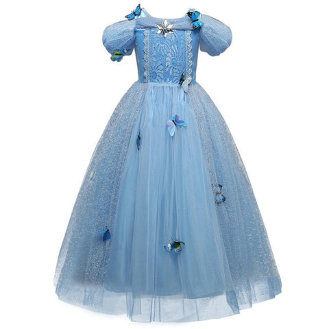 4 7 8 9 10 Years Elsa Dress Children Role-Play Costume Princess Cinderella Girls Ball Gown Party Christmas Cosplay Vestido Blue