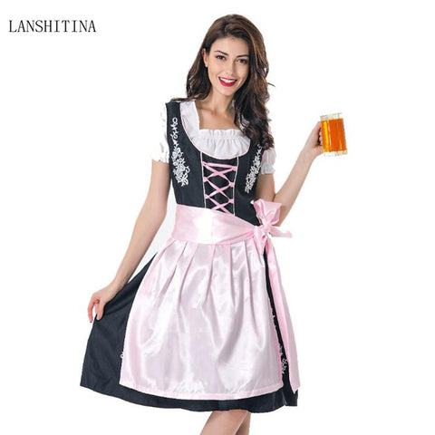 LANSHITINA German Bavarian Beer Girl Costume Oktoberfest Carnival Dirndl Dress Cosplay Halloween Costumes For Women Adults