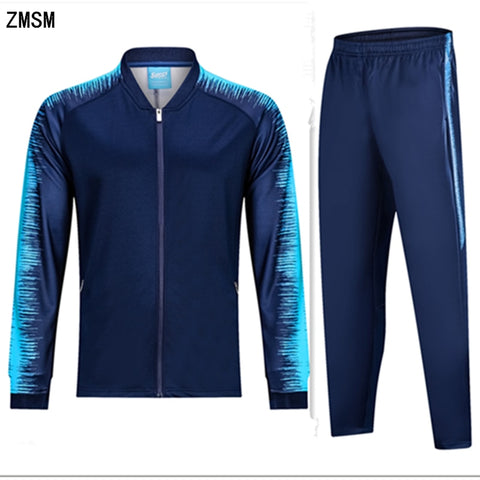 ZMSM Adult Autumn Winter Soccer Sets zipper Coat tracksuit Soccer jackets & pants Running Outdoor Football training suit BA-G1