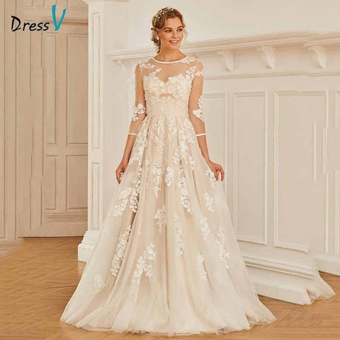 Dressv elegant scoop neck 3/4 sleeves lace wedding dress appliques button floor length bridal outdoor&church wedding dresses