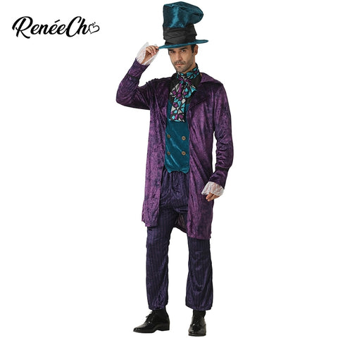 Halloween costume for Men Alice In Wonderland Prestige Mad Hatter Costume Crazy Hat Cosplay Christmas Costume For Adult