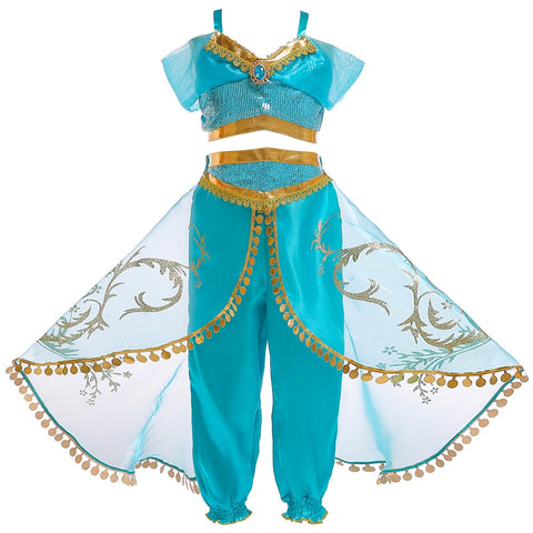 Girls Aladdin's Lamp Jasmine Belly Dance Cosplay Costumes girls Princess Christmas Dresses kids Halloween Costumes for Children