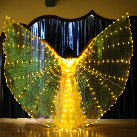 2018 Stafe Performance Prop Women Dancewear Costume Accessory DJ LED Wings Light Up Wings Belly Dance Wing with Sticks Carry Bag