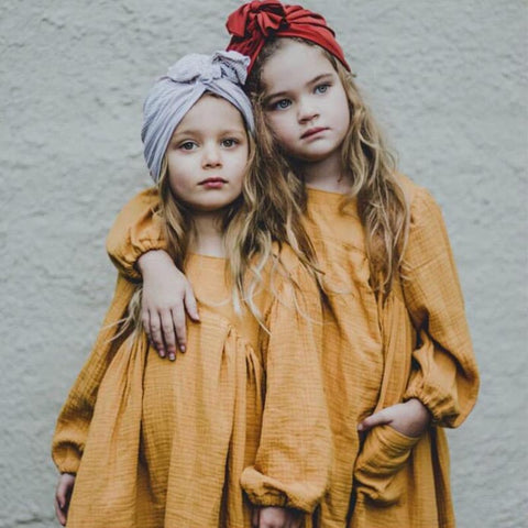 Brand Baby Girl Clothes Autumn 2019 Ins Style European&America Solid Girls Dress Toddler Kids Girl Casual Linen Dress Princess