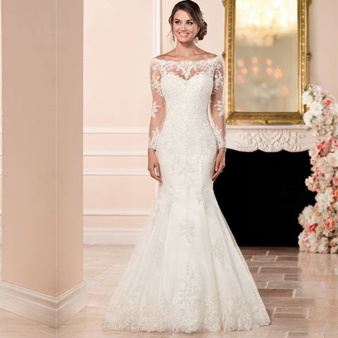 2019 Long Sleeve Wedding Gown Illusion Back  Boat Neck Court Train Lace Applique vestido de casamento vestido de noiva sereia