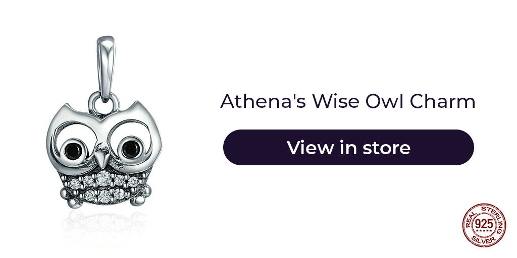 Gift guide for friends in 2019 - Sterling silver Athena's good luck owl charm for charm bracelets and charm necklaces. Best personalized gift idea to make charm bracelets for women to let them carry the good luck of the owl wherever they go.