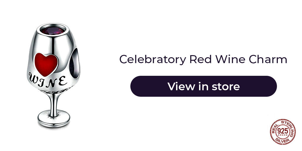 Gift guide for friends in 2019 - Sterling silver red wine charm for charm bracelets and charm necklaces. Best personalized gift idea to make charm bracelets for women on anniversary, wedding, graduation, farewell or any other celebration.