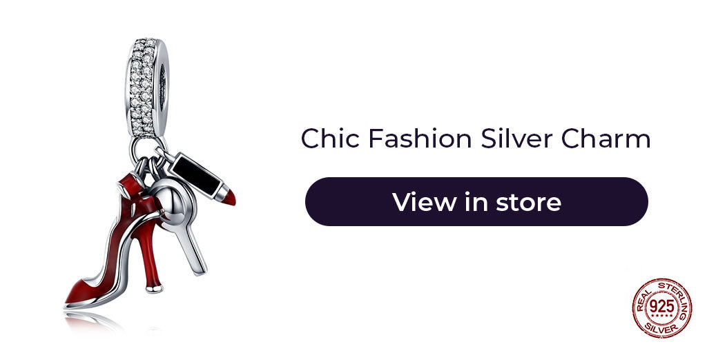 Gift guide for friends in 2019 - Sterling silver stiletto, lipstick and makeup mirror  fashionista charm for charm bracelets and charm necklaces. Best personalized gift idea to make charm bracelets for women who loves fashion.