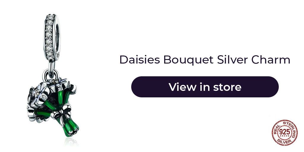 Gift guide for friends in 2019 - Sterling silver white daisy bouquet charm for charm bracelets and necklaces. Best personalized gift idea to make charm bracelets for women on Christmas, to women who loves daisies or the blooming spring season, or simply as a congratulation gift for any success.