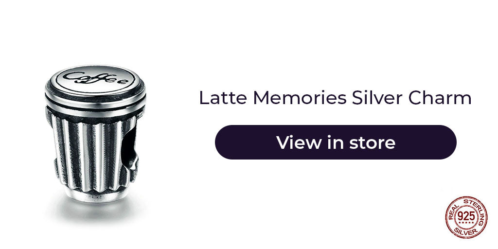 Gift guide for friends in 2019 - Sterling silver coffee mug charm for charm bracelets and charm necklaces. Best personalized gift idea to make charm bracelets for women who loves coffee or as a reminder of any sweet conversation over a cup of coffee.
