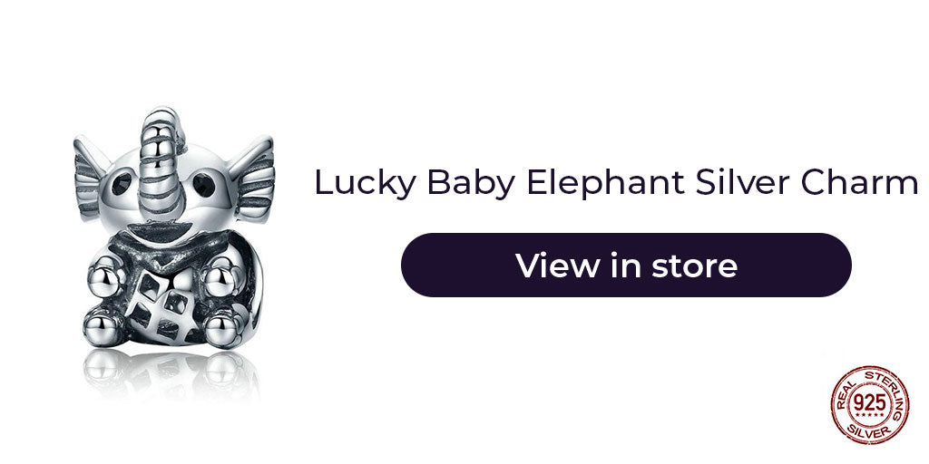 Gift guide for friends in 2019 - Sterling silver lucky baby elephant charm for charm bracelets and charm necklaces. Best personalized gift idea to make charm bracelets for women as a baby shower gift, or simply to wish good luck come their way.