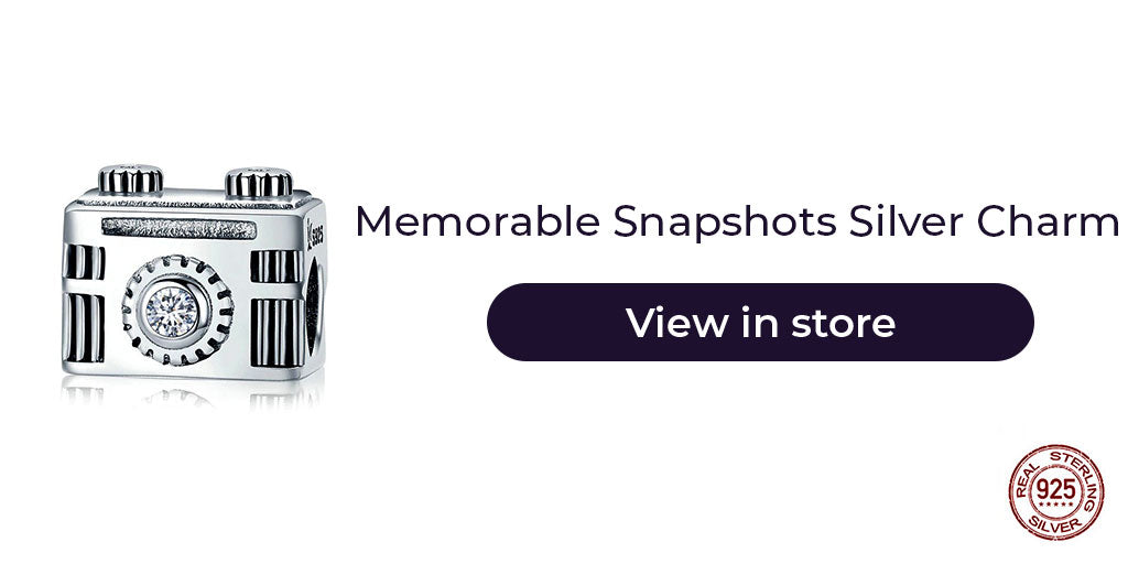 Gift guide for friends in 2019 - Sterling silver camera charm for charm bracelets and charm necklaces. Best personalized gift idea to make charm bracelets for women who is Instagram queen, loves to click pictures, or simply a farewell gift as a reminder of all beautiful snapshots.