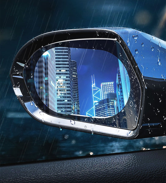 Muselot's anti rain and anti glare rear mirror film to keep you safe when you drive in rain, harsh weather conditions or at night. They survive car wash, reduce accident rates and gives a clear view of road even in fog, mist or heavy rain. These are transparent and does not affect the appearance of the car.