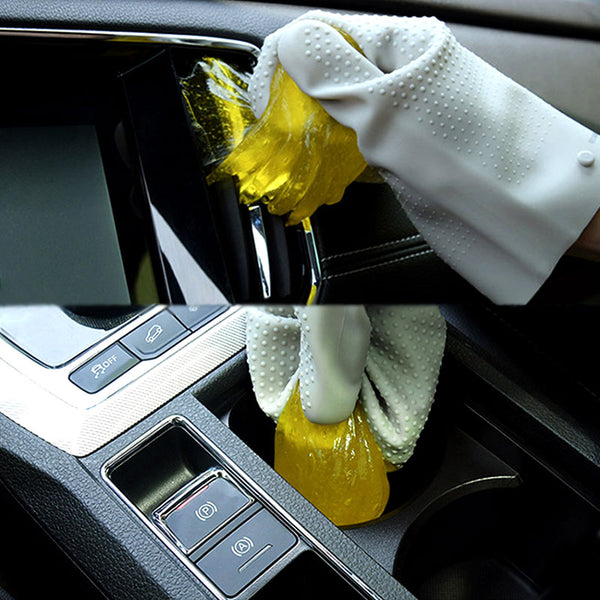 Muselot's car interior cleaning glue gel with silicone gloves. The cleaning glue gel is made with natural aloe vera and guar gum and is reusable until it turns gray. It enables you to reach all difficult areas like car ac filters, air outlet, seats, doors, etc. and keep it away from the mess of crumbs, dirt and debris which falls overtime and by eating meals inside the car.