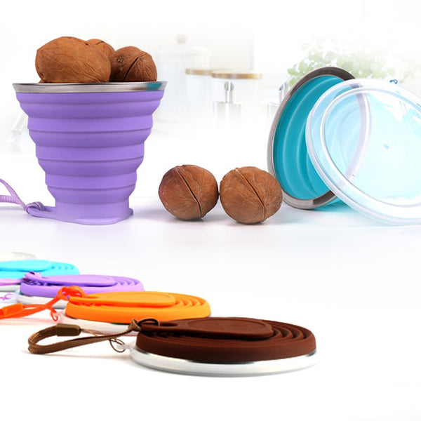 Muselot's silicone collapsible cups in many colors. Must have silicone folding cups for travels, for daily use. Made with food grade silicone and a lid attached protects the content inside cups away from dust.