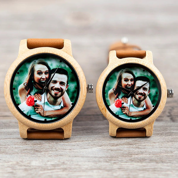 Muselot's Mutch - the special gift watch for him/her. Handmade with eco-friendly bamboo wood and laser printed with beautiful pictures of you or your loved ones. This bamboo watch is a great personalized gift for friends on Christmas, loved ones on anniversaries or valentines and family on birthdays or Thanksgiving, etc.