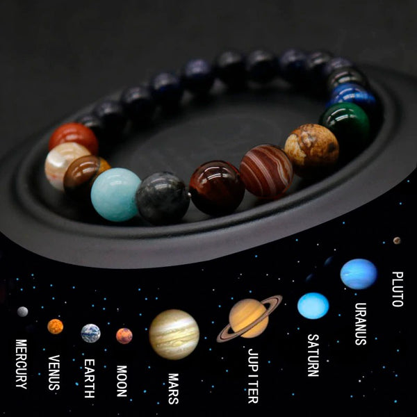 Muselot's planetary stones bracelet is the best good luck gift for both men and women combined with the positive energies from the cosmos of all the 9 planets, the sun and the moon to bring a positive influence in your life. The positive energies of the planets in this natural stones bracelet helps you attain good health, wealth, happiness, success, love, confidence, etc.