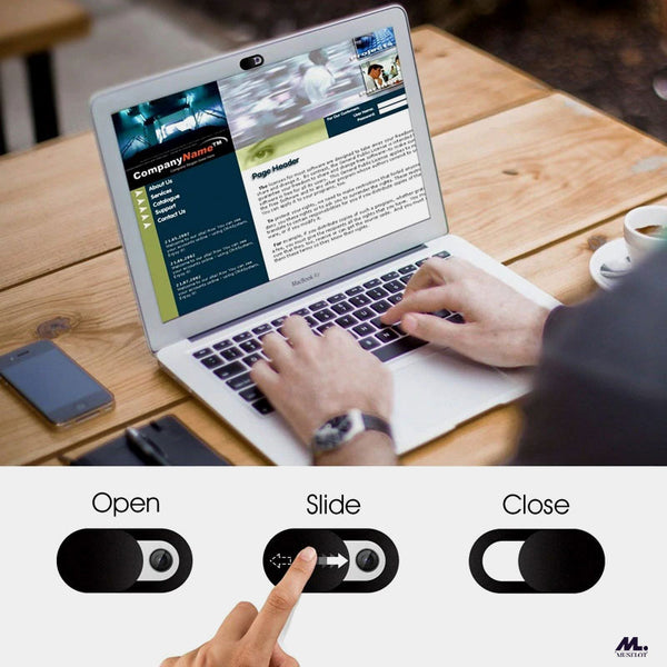 Muselot's Privacy shutter webcam cover for laptops, smartphone, tablets and other smart devices to prevent hackers from spying on you. Doesn't let you distort the appearance of your devices using cheap tapes, this privacy shutter protects your privacy in a smart way.