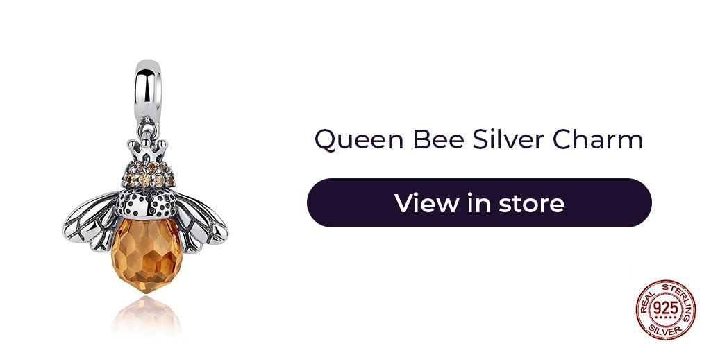 Gift guide for friends in 2019 - Sterling silver queen bee charm with birthstones for charm bracelet and charm necklaces. Best personalized gift idea for women who is moving away or simply to wish good luck