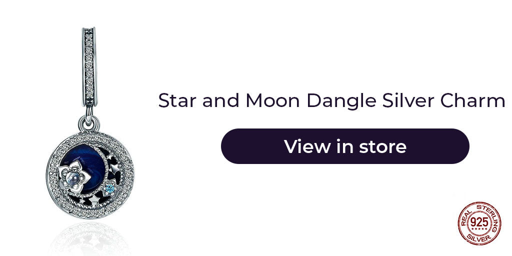 Gift guide for friends in 2019 - Sterling silver star and moon charm for charm bracelets and necklaces. Best personalized gift idea for women who loves to live in galactic fantasy.