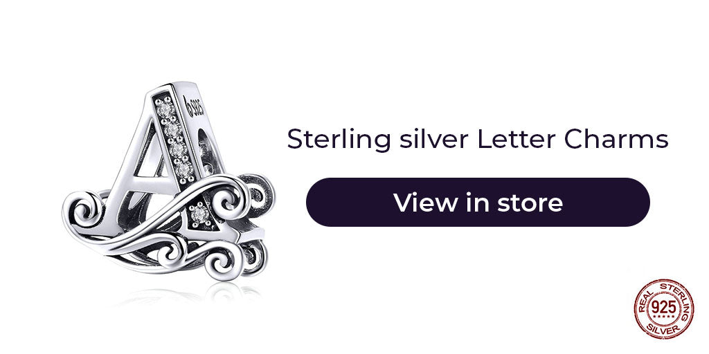 Gift guide for friends in 2019 - Sterling silver letter charms for charm bracelets and charm necklaces. Best personalized gift idea to make charm bracelets for women on birthdays, friendship days, Christmas, graduation, anniversary etc.
