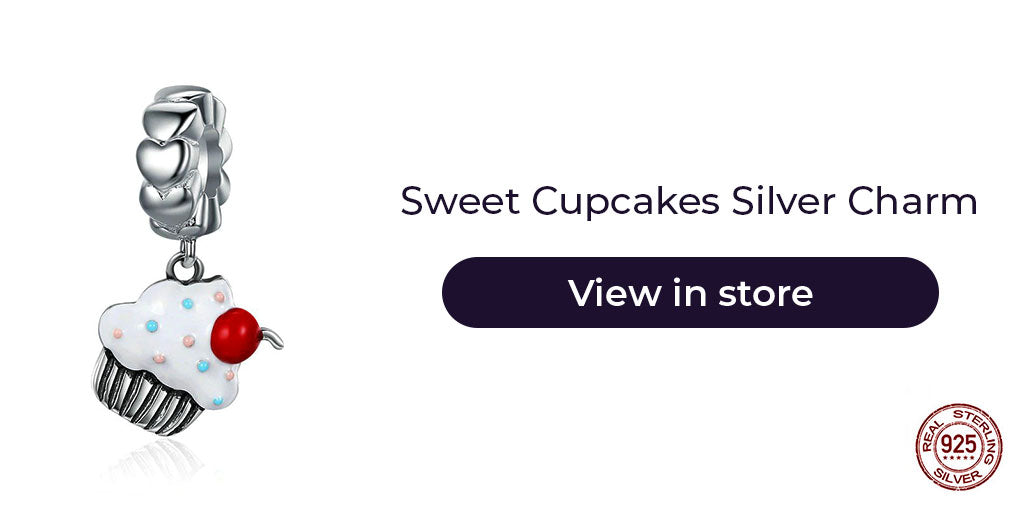 Gift guide for friends in 2019 - Sterling silver cute cupcake charm for charm bracelets and charm necklaces. Best personalized gift idea to make charm bracelets for women who loves to bake or simply is a big time foodie.