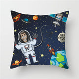 Muselot's rocket launch decorative pillow covers to transform the look of your rooms into outer space. Perfect gift for kids to spark new interests of space in them, for space enthusiasts, for ambitious or simply for those who loves to decorate the surrounding with unique pillows or interiors. Made with polyester and cotton, square in shape and of size 45 cm x 45 cm. 26 lovely vibrant designs to pick from.