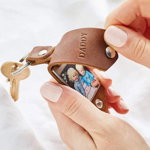 Personalised Photo & Initials Leather Keychain - Handmade Father's Day