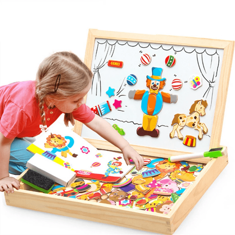 Homerri CIRCUS EDUCATIONAL MAGNETIC BOX (WITH WHITEBOARD & CHALKBOARD)