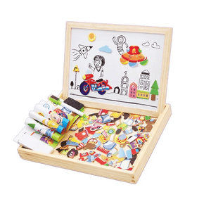 Homerri CITY EDUCATIONAL MAGNETIC BOX (WITH WHITEBOARD & CHALKBOARD)