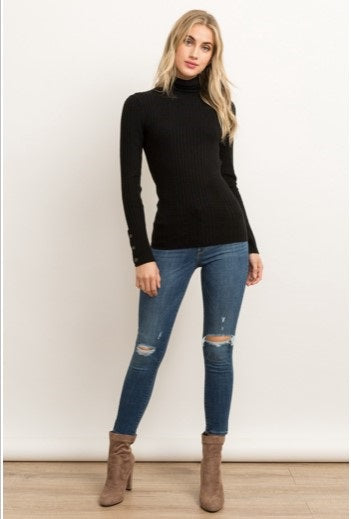 Stacy Black Turtleneck Sweater