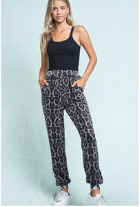 Brittany Grey Leopard Drawstring Hogger Pant - The Look By Lucy