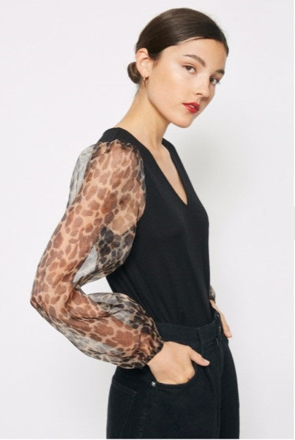 Caley Leopard Sheer Puff Sleeve top - The Look By Lucy