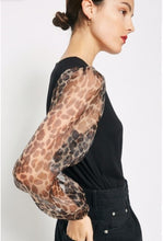 Load image into Gallery viewer, Caley Leopard Sheer Puff Sleeve top - The Look By Lucy