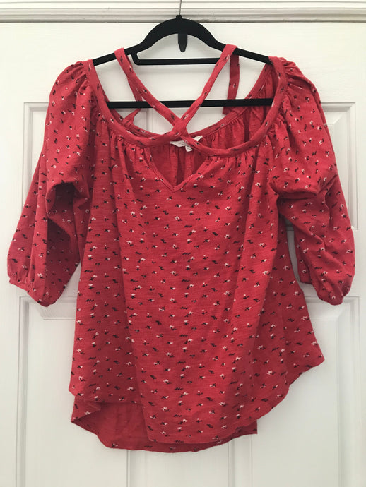 Lucky Brand 3/4 Sleeve Red Top Medium - The Look By Lucy