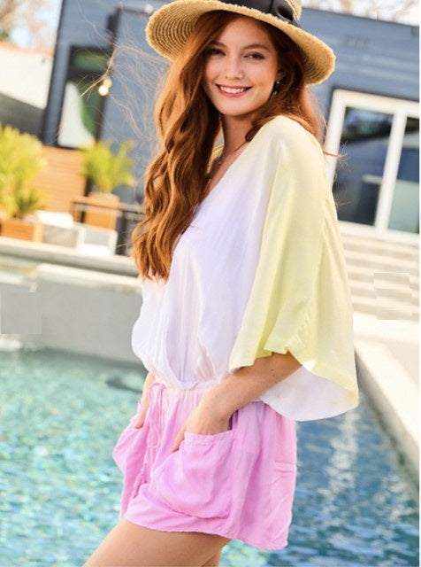 Sunny Yellow and Pink Tie Dye Romper - The Look By Lucy