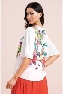 Kali White Floral Top - The Look By Lucy