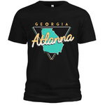 ATLANNA Retro Tourist Tee (Black/Teal/Peach)