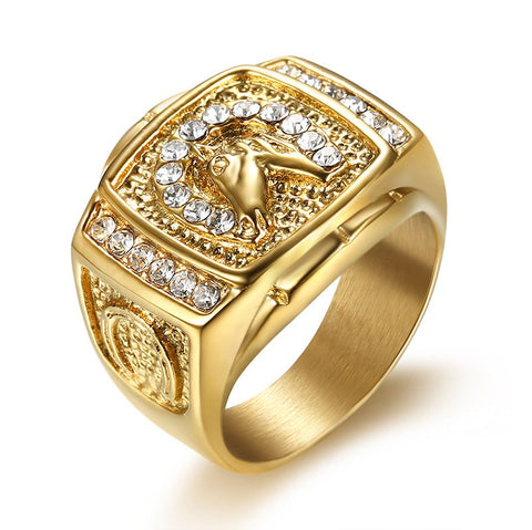 HIP Hop 8 -13 size Micro Pave Rhinestone Iced Out Bling Horse Ring IP Gold 5b069e45a795