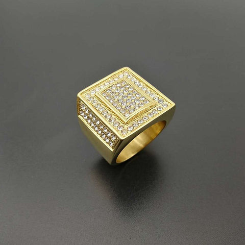 HIP Hop gold color Micro Pave Rhinestone Iced Out Bling Big Square Ring IP  Filled Titanium b0da02937bc4