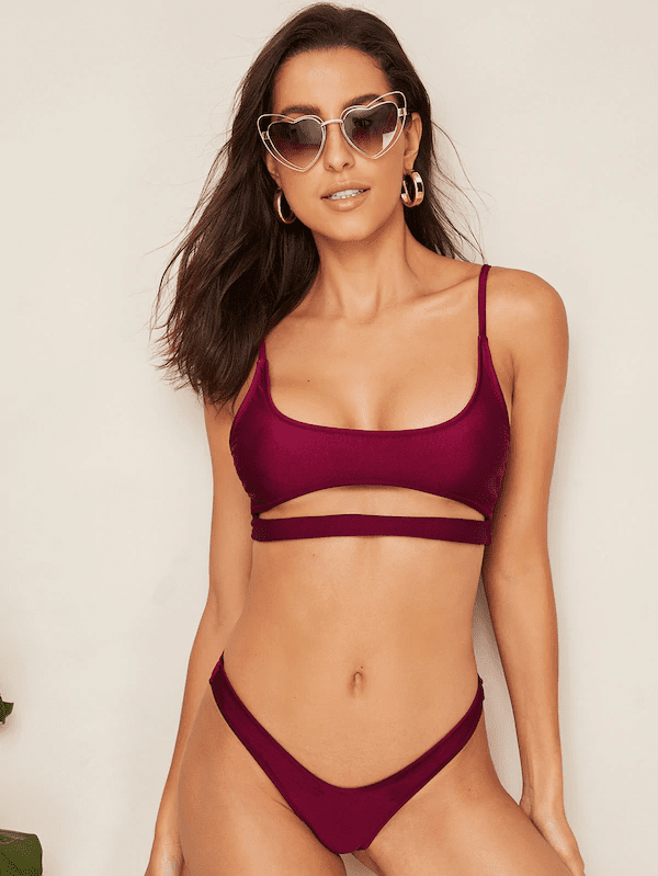Cut-Out Front Top With High Leg Bikini Set