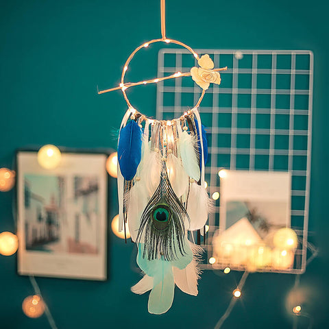 Peacock Blue Dream Catcher and Lights