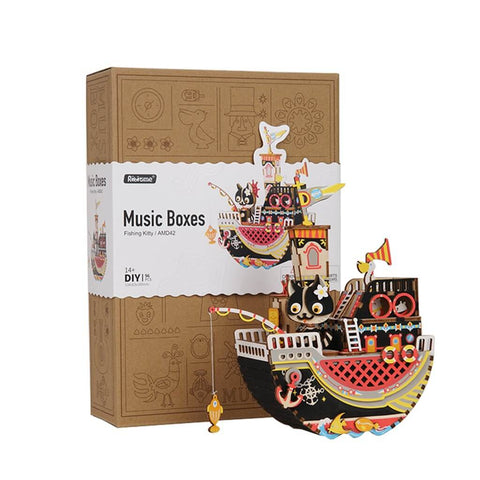 Music Box Kit with Hand Crank: Fishing Kitty
