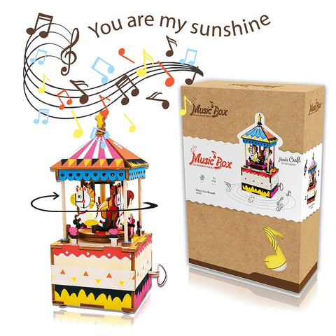 Music Box Kit with Hand Crank: Merry-Go-Round