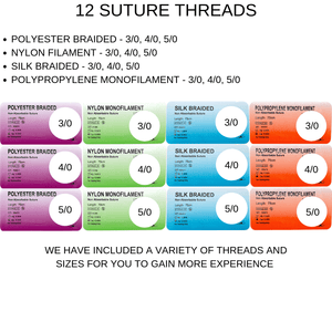 variety of suture thread types and materials